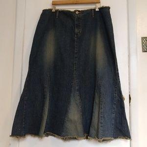 Frayed Waistband Hem Denim Skirt 22W Grunge